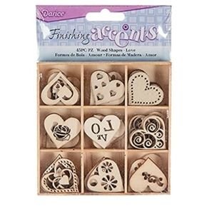 5/$25 Mini Heart Theme Cut Wood Shapes 45CT